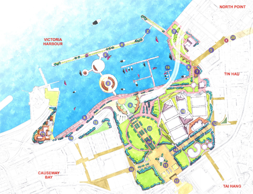 Victoria bay waterfront park design hong kong green for Waterfront landscape design